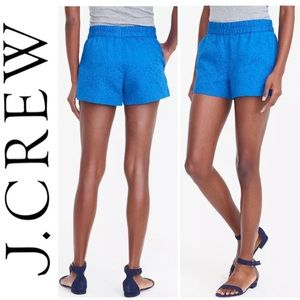 J.Crew Athens Blue Floral Jacquard Pull-on Shorts